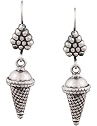 Ahilya Jewels Silver Drop Earrings for Women (Silver)(AER17139-00SNAB)