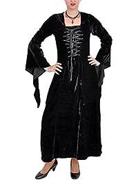 Mittelalterkleid, Samt, lang, schwarz, Größen S - XXL