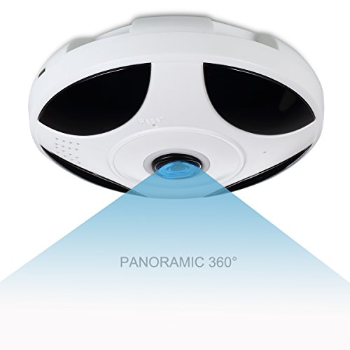 IP Camera, IMATEK X326 White Round Cake Network Camera, 2.0Megapixel 1080P 360 Degrees Fisheye Lens Panoramic Camera, P2P Wi-Fi connection, Real Time Monitoring and Intercom,Home Security System Home Security Camera Systems