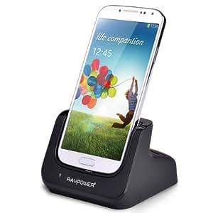 RAVPower®3 en 1 Station d'accueil Dual Dock SyncChargeur / station de recharge / chargeur de batterie de Haute Performance avec prise USB mural pour Samsung Galaxy S4 SIV I9500 /(RP-UC04),NOIR