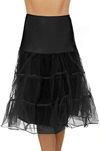 Tüll Petticoat Unterrock verschiedene Farben (M, schwarz)