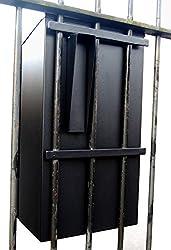 Sterling Secure Steel Gate & Railings Postbox, Black, Large