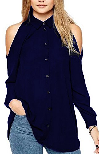 Donne T-Shirt Sciolto Chiffon Bluse Casual Top Maglietta Shirts di Colore Solido Sexy Lunga Manica Spalla Fredda Tunica Camicie Blu scuro