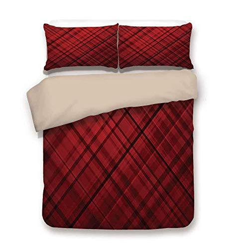 Soefipok copripiumino, rosso e nero, motivo kilt scozzese con righe a righe quadretti immagine ombreo, bordeaux e scarlatto, set di lenzuola decorativo a 3 pezzi di 2 federe cuscino twin size