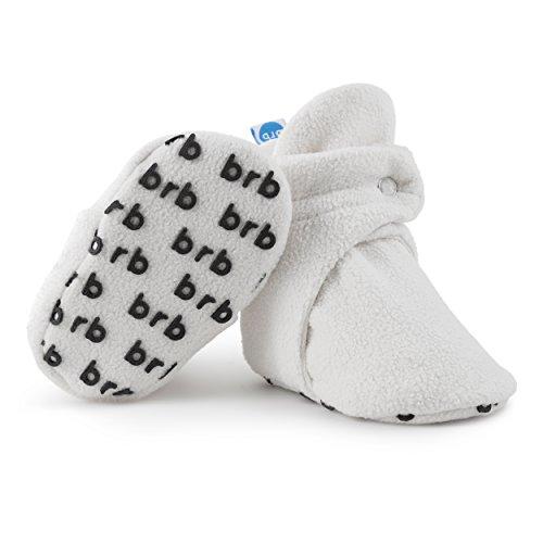 Baby Booties (BirdRock Baby Fleece Booties Bio Baumwoll-Futter und rutschfeste Greifer (US 7, Cream))