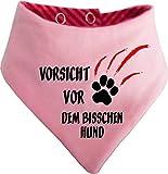 KLEINER FRATZ Gestreiftes Hunde Wende- Halstuch (Fb: Rot-Fuchsia/Rosa) (Gr.1 - HU 27-30 cm) Vorsicht vor Dem Bisschen Hund
