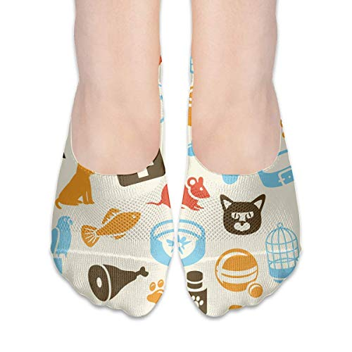 Jxrodekz Vintage Cat Care Pattern Suits Women's Non Slip Boat Socks,Unique Casual Thin Polyester Cotton Low Cut Socks,Hidden Flat Boat Liner (Vintage Halloween Ebay)