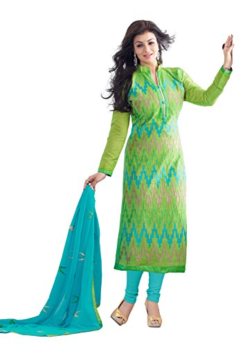 Blissta Light Green Chanderi Embroidered PartyWear Dress Material(RSFSMY08)