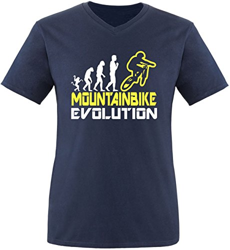 EZYshirt® Mountainbike Evolution Herren V-Neck T-Shirt Navy/Weiss/Gelb