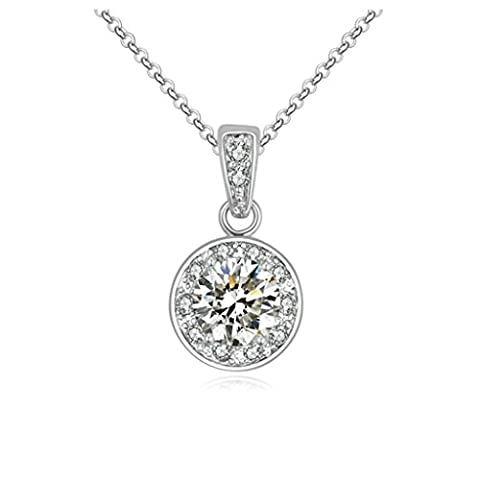 Aooaz Damen Halskette Anhänger Metalllegierung Silber Runde Kristall Princess-Schliff Zirkonia Anhänger Halskette Für Frauen Weiß Hochzeit