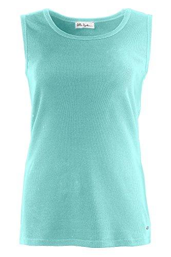 Ulla Popken Femme Grandes tailles Coton Débardeurs sans manches 674383 bleu turquoise