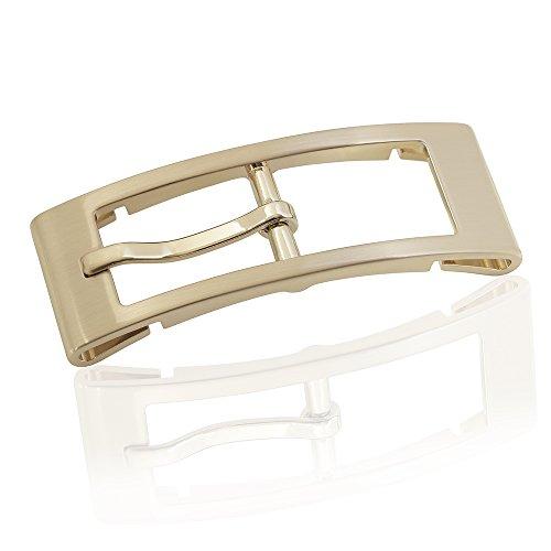 FREDERIC HERMANO Gürtelschnalle Buckle 20mm Metall Gold Gebürstet - Buckle Monaco - Dornschliesse Für Gürtel Mit 2cm Breite - Goldfarben Gebürstet