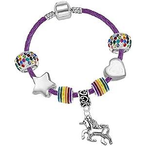Mädchen-Charm-Armband mit Einhorn-Charm, aus Leder, Violett, mit Geschenkbox und Einhorn-Grußkarte
