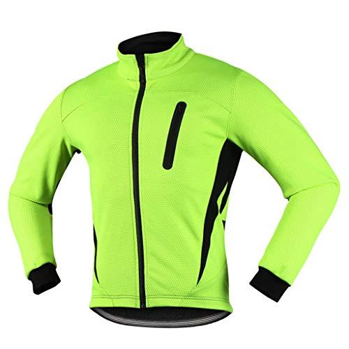 iCREAT Herren Jacket Air Jacket Winddichte Wasserabweisend MTB Mountainbike Jacket Visible reflektierend, Fleece Warm Jacket, Grün GR.XXL