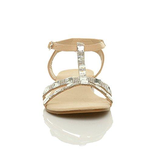 Ajvani Donna piatto t-bar strass cinturino alla caviglia sandali gladiatore numero Ecrù