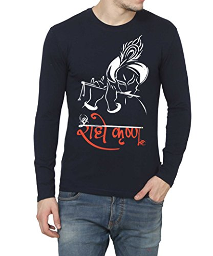 Printing Geeks Radhe Krishna With Flute Face Printed Designer Full Sleeves New Men's 100% Cotton T-shirt