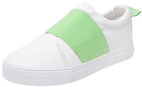 Minetom Damen Sommer Herbst Segeltuch Slip-On Schuhe Loafer Schuhe Mode Weiße Schuhe Minze