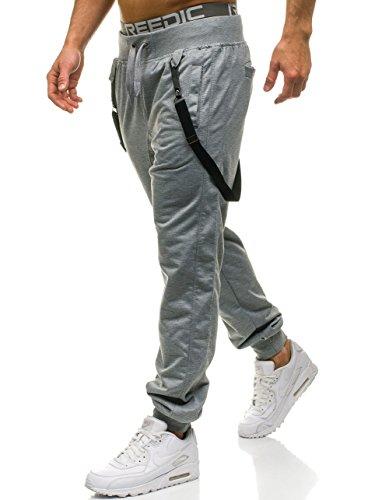 BOLF Herrenhose Sporthose Trainingshose Jogginghose Fitnesshose mit Hosenträger BBG MODA 7221 Grau XL [6F6] (Schwarz Und Grau-schnitt-sofa)