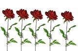 5er Set ROSE EDLE MEGA KUNSTROSE DUNKELROT Rose SAMT 74 cm BLÜTE 16 cm (3erSet, Rot/Dunkelrot)