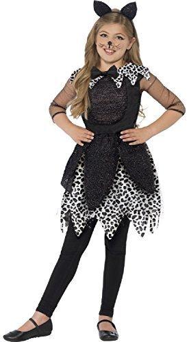 Deluxe Katze Kostüm Schwarze - Fancy Me Mädchen Deluxe Mitternacht Schwarz Glitzer Katze Tiermuster Halloween Kostüm Kleid Outfit & Stirnband Tanz Party Welt Buch Woche Tag TV Film 4-9 Jahre - Schwarz, 7-9 Years