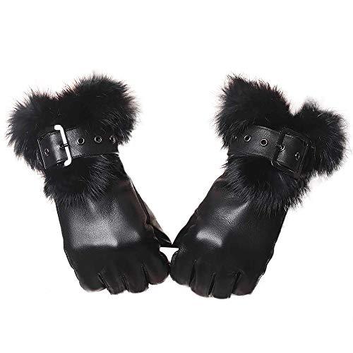 YISEVEN Damen Elegant Lammfelll Lederhandschuhe Kaninchenfell Touchscreen mit Warm Gefüttert Elegant Winter Leder Autofahrer Handschuhe, Schwarz 9.0/XXXL -