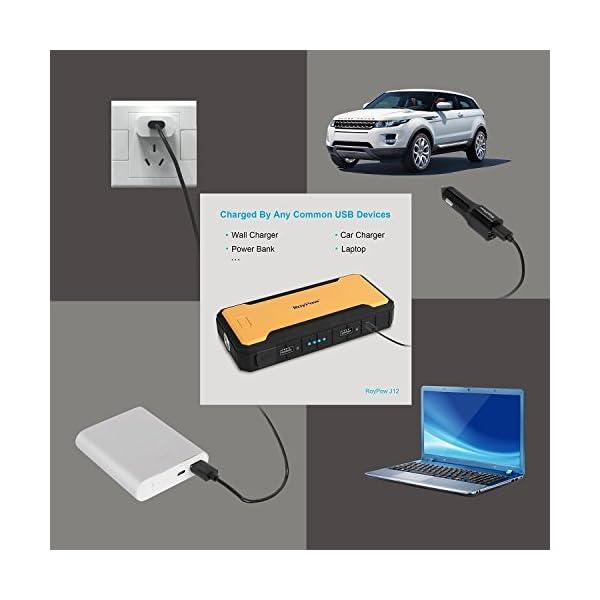 Roypow J12todo en uno 4L de coche Jump Starter & 12000mAh Cargador de baterías externo y banco de energía con 12V salida y 400A corriente máxima y Purp cobre abrazaderas, linterna LED, SOS, brújula, carga iPhone, iPad, teléfonos inteligentes (Samsung, fuego Teléfono, etc.), Tablet, cámara digital, MP3reproductor, videocámara, PS, portátil y multifuncional, Amarillo & Verde & Naranja