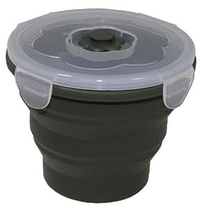 MFH Lunchbox pliable en silicone avec couvercle Olive 9,5 x 7,5 cm