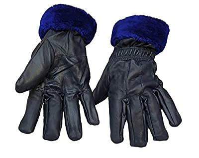 Good Life Stuff Stylish Genuine Leather Winter Protective Gloves for women in Blue (GLSGL-8030)