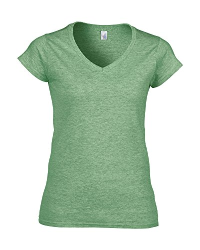 Gildan Damen V-Neck Jersey T-Shirt irishgreen-heather