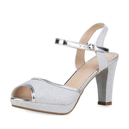 SCARPE VITA Damen Pumps Riemchensandaletten High Heel Sandaletten Glitzer Party Schuhe Absatzschuhe Elegante Abendschuhe 175878 Silber Glitzer 36