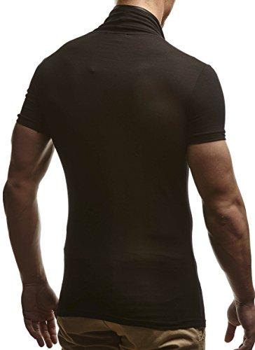 LEIF NELSON Herren T-Shirt Sweatshirt Slim Fit LN635 Schwarz