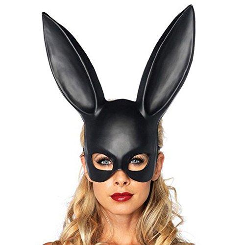 Bescita6 Matt Ostern Kaninchen Maske Matte Easter Party Hasenohren Maske Half Face Masks Nachtclub Bar Maskerade (Schwarz) -