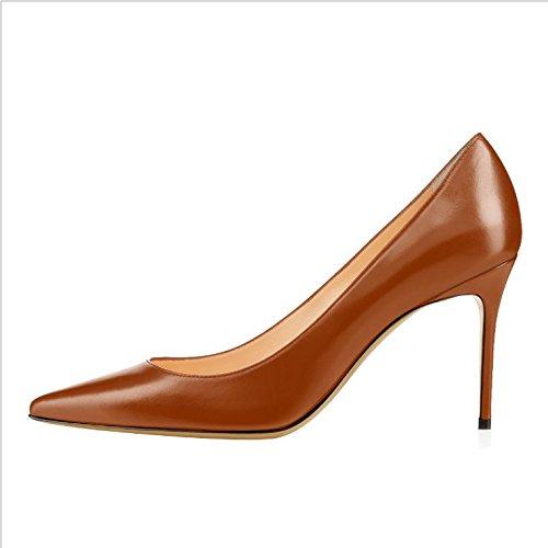 Ruanlei@Damen Spitz High Heels Kleid-Partei Pumps/High Heel Pumps/Abendschuhe/Heels T-Spangen Pumps mit NietenVor dem Hintergrund der wilden und stilvolle high-heel Schuhe Mädchen, braun B, 41