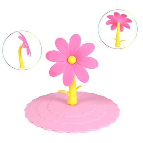 Preisvergleich Produktbild Bluelover Bunte Blumen Silikon staubdicht Cup Deckel dicht Tasse abdecken - rosa