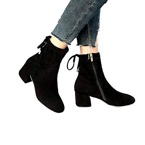 MYMYG Damen Stiefel High Heels Casual Peeling Leder Back Stiefel Herbst Sexy Elegante Warme Stiefeletten Freizeitschuhe Absatzschuhe Hohe Schuhe Ankle Boots Mit Quaste