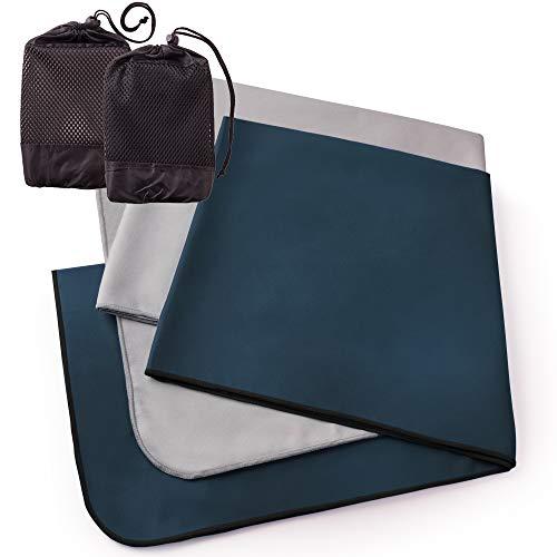 The friendly swede set di 2 asciugamani in microfibra da viaggio, camping e sport con 2 sacche in rete (blu scuro+grigio, 50x100cm)