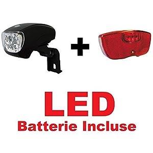 41zeMjtJ eL. SS300 CicloSportMarket Kit Fanale a LED Luce Anteriore Attacco PORTACESTO + Fanale a LED Posteriore Attacco PORTAPACCO…