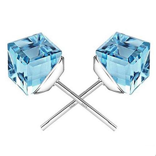 YAZILIND 925 Sterling Silber Wasser Würfel Kristall hypoallergen Zucht Ohrringe für Frauen (blau)