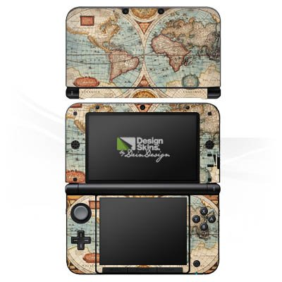 Nintendo 3 DS XL Case Skin Sticker aus Vinyl-Folie Aufkleber Vintage Weltkarte Karte Map