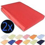 nxtbuy 2er Set Kinder Jersey Spannbettlaken 70x140cm - hautfreundliches & atmungsaktives Spannbetttuch aus 100% Baumwolle mit Rundumgummi gegen Verrutschen - ÖkoTex100, Farbe:Rot