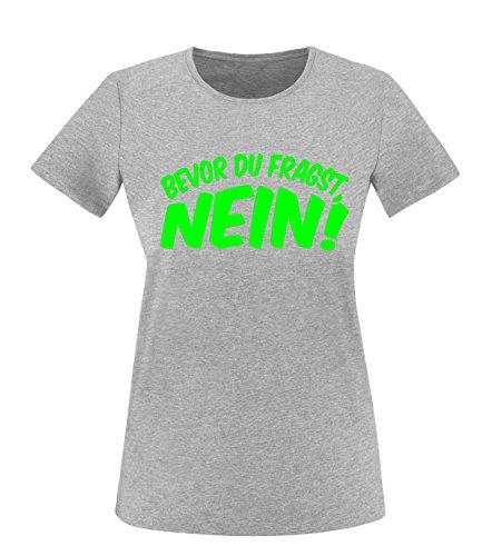 Luckja Bevor du fragst Nein Damen Rundhals T-Shirt Grau/Neongrün