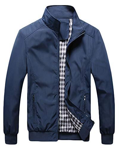 QitunC Hombre Chaqueta Bomber Plus Size Collar De Pie Cremallera Cazadora Abrigo Azul Oscuro S