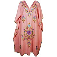 Mogul Interior Womens Kimono Caftan Hand Embroidered Cotton Lounge Maxi Kaftan One Size Peach