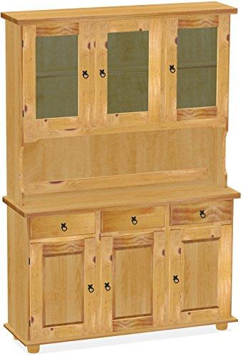 Brasilmöbel Highboard, Pinie Massivholz, geölt und gewachst Farbton Honig, L/B/H: 129 x 40 x 187 cm