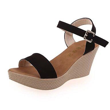 Zormey Sandalen Sommer Club Schuhe Fleece Outdoor Dress Casual Keilabsatz Schnalle Zu Fuß US6 / EU36 / UK4 / CN36