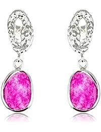 Córdoba Jewels | Pendientes en plata de Ley 925. Diseño Oval Martelé Rubí