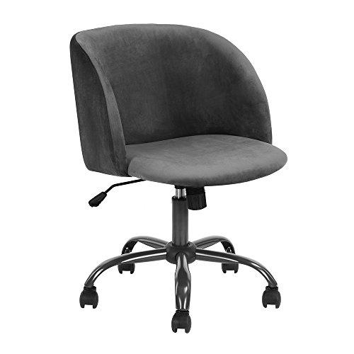 Aingoo Arbeitshocker Samtstuhl Bürostuhl Drehstuhl Aus Samt Sessel Höhenverstellbare Loungesessel Esszimmerstuhl Polsterstuhl In Grau 49 × 48 × 76-86 CM …