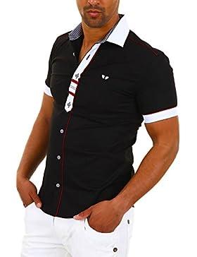 Carisma Herren Kurzarmhemd Freizeithemd Kontrast-Hemd Slim Fit