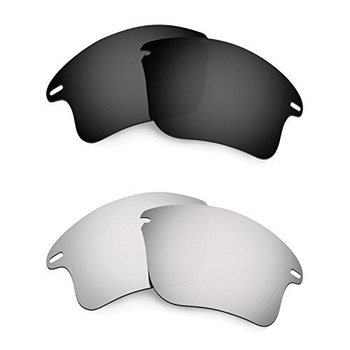 HKUCO Mens Replacement Lenses For Oakley Fast Jacket XL Black/Titanium Sunglasses