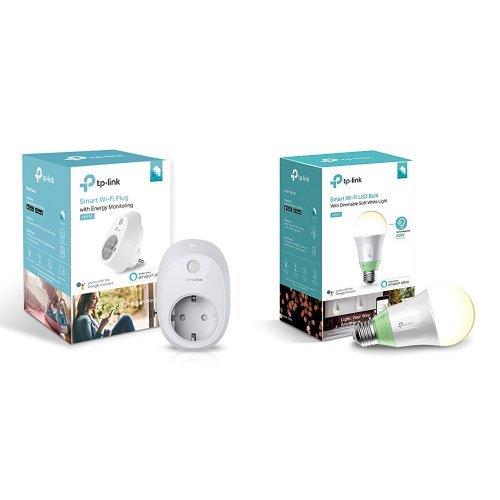 TP-Link Presa Wi-fi con Monitoraggio Energia HS110 + Lampadina Wi-fi LB110 con Luce Regolabile